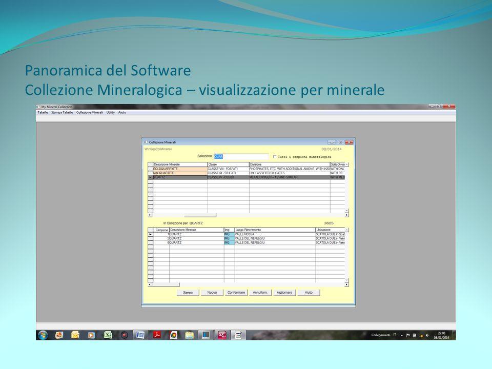 Panoramica del Software Collezione Mineralogica – visualizzazione per minerale