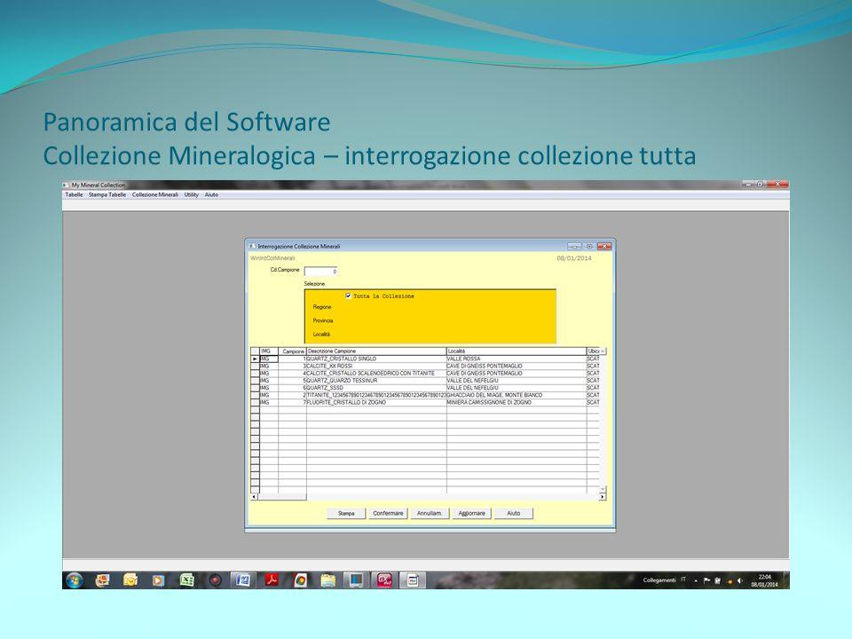 Panoramica del Software Collezione Mineralogica – interrogazione collezione tutta