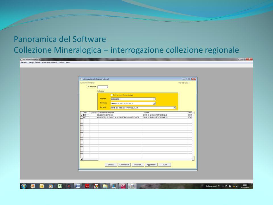 Panoramica del Software Collezione Mineralogica – interrogazione collezione regionale