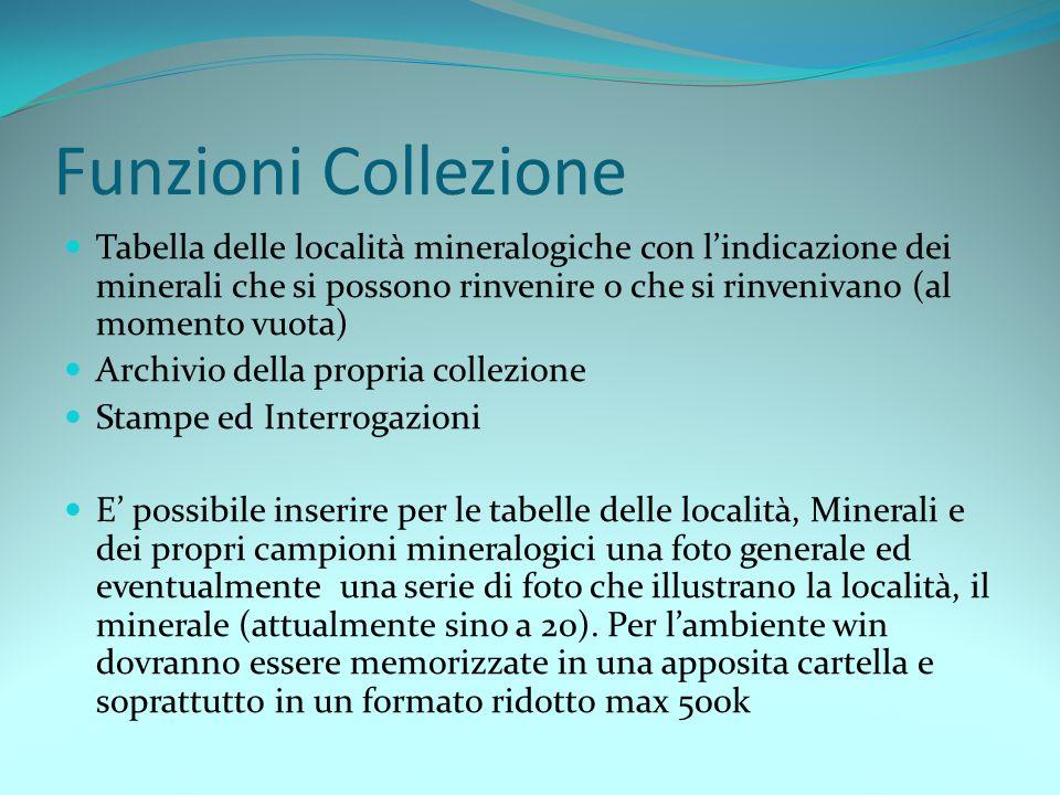 Funzioni Collezione Tabella delle località mineralogiche con lindicazione dei minerali che si possono rinvenire o che si rinvenivano (al momento vuota