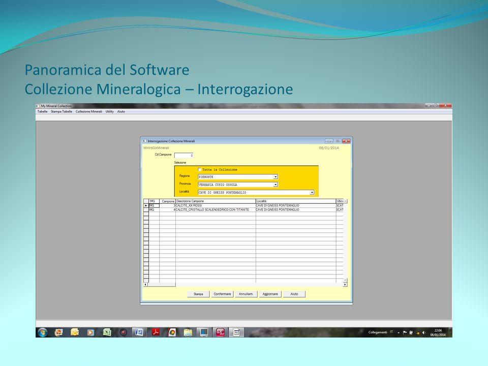 Panoramica del Software Collezione Mineralogica – Interrogazione