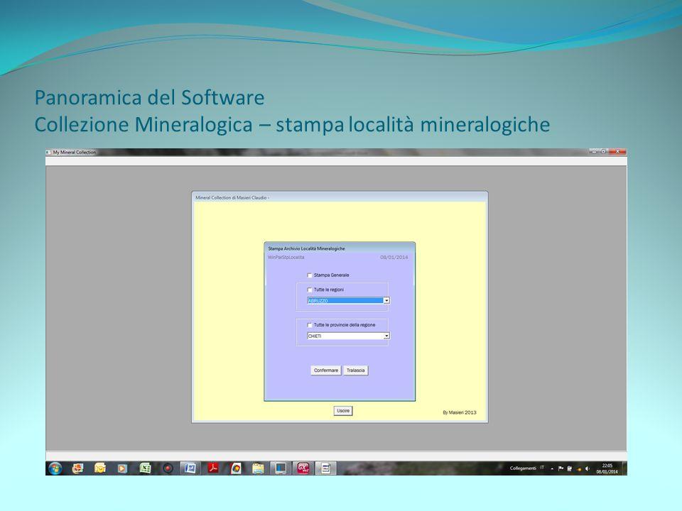 Panoramica del Software Collezione Mineralogica – stampa località mineralogiche