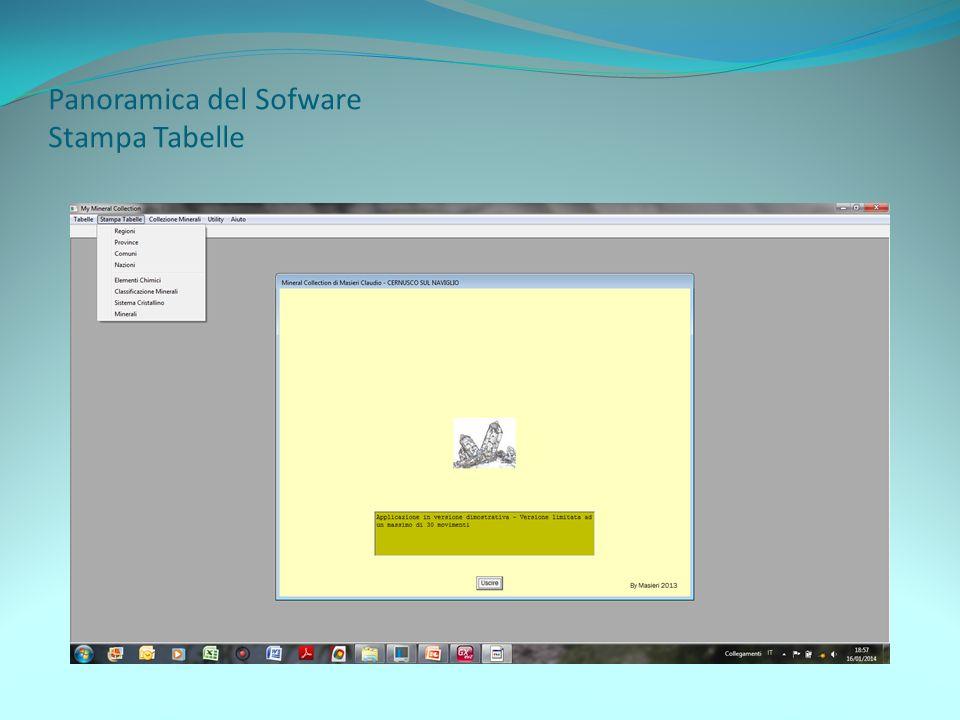 Panoramica del Software Archivio Minerali Visualizzazione per Classe o Ricerca per nome