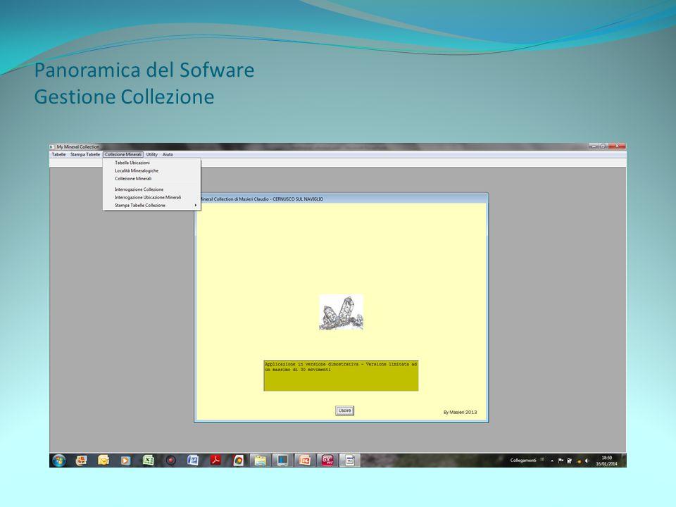 Panoramica del Sofware Gestione Collezione