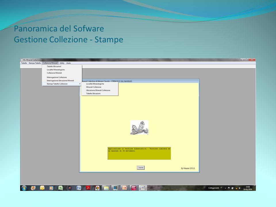 Panoramica del Sofware Gestione Collezione - Stampe