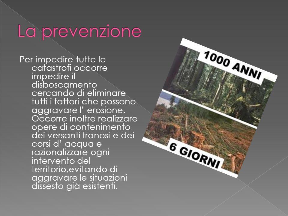 Per impedire tutte le catastrofi occorre impedire il disboscamento cercando di eliminare tutti i fattori che possono aggravare l erosione. Occorre ino
