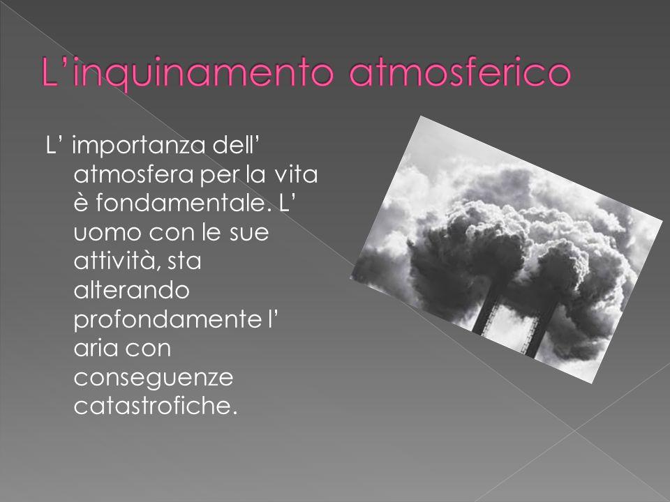 L importanza dell atmosfera per la vita è fondamentale. L uomo con le sue attività, sta alterando profondamente l aria con conseguenze catastrofiche.