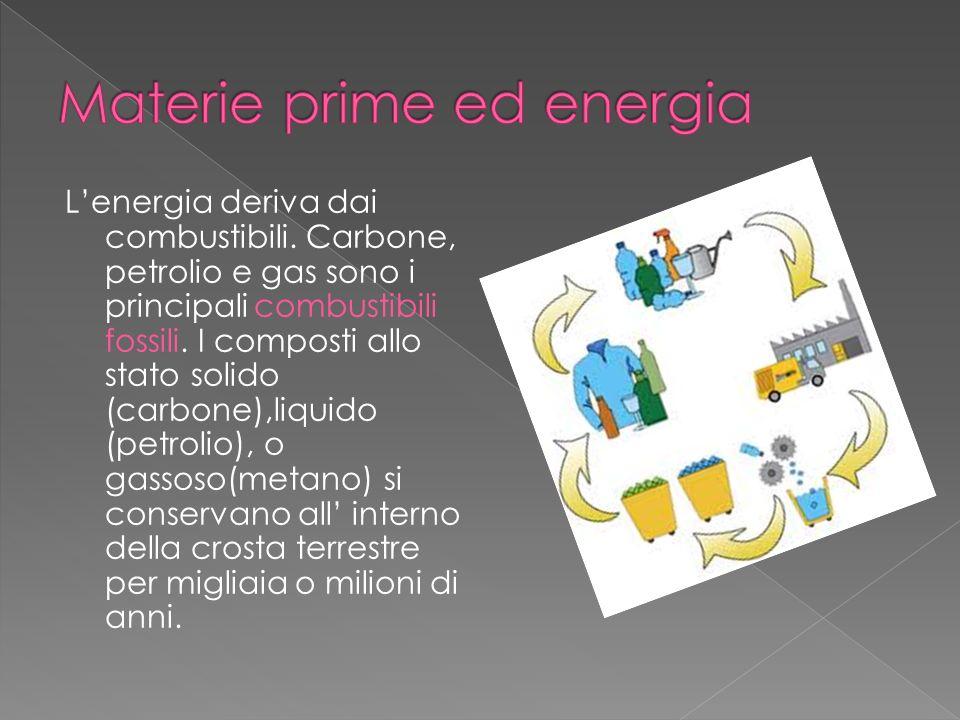 Lenergia deriva dai combustibili. Carbone, petrolio e gas sono i principali combustibili fossili. I composti allo stato solido (carbone),liquido (petr