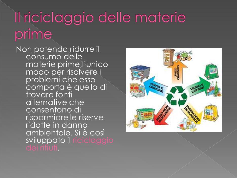 Non potendo ridurre il consumo delle materie prime,lunico modo per risolvere i problemi che esso comporta è quello di trovare fonti alternative che co