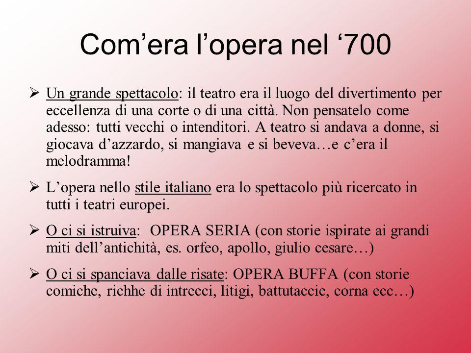 Comera lopera nel 700 Un grande spettacolo: il teatro era il luogo del divertimento per eccellenza di una corte o di una città.