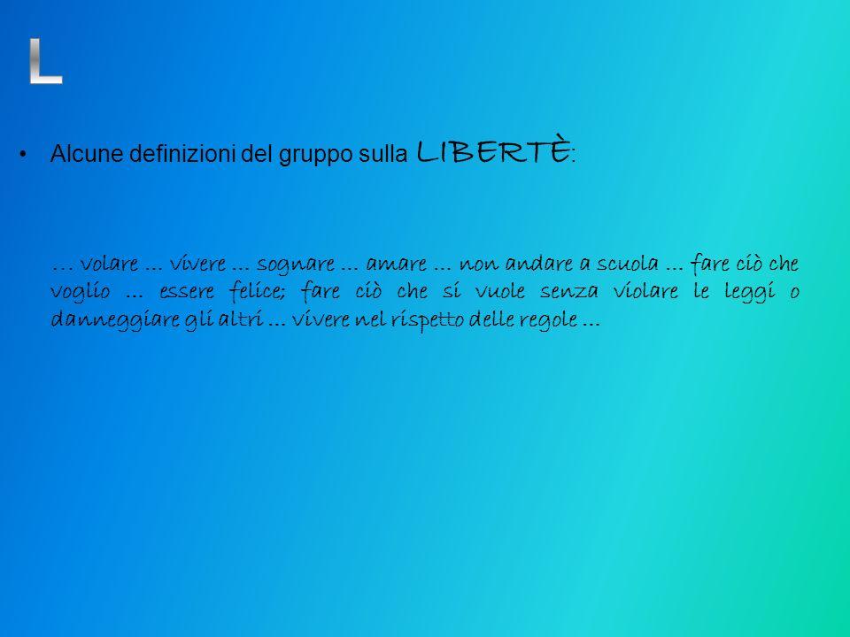 Alcune definizioni del gruppo sulla LIBERTÈ : … volare … vivere … sognare … amare … non andare a scuola … fare ciò che voglio … essere felice; fare ci