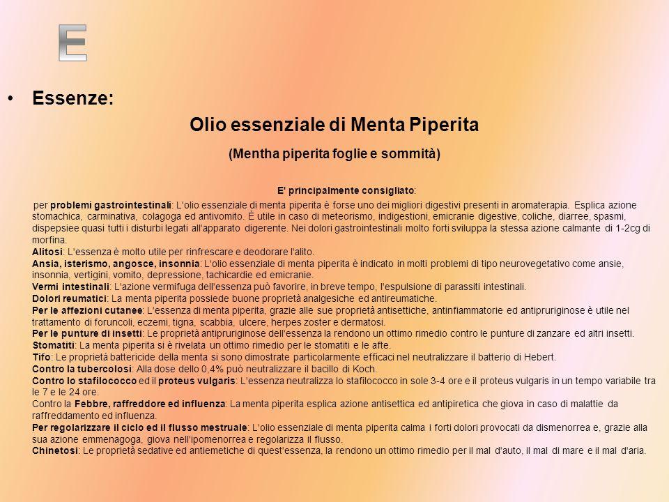 Essenze: Olio essenziale di Menta Piperita (Mentha piperita foglie e sommità) E' principalmente consigliato: per problemi gastrointestinali: L'olio es