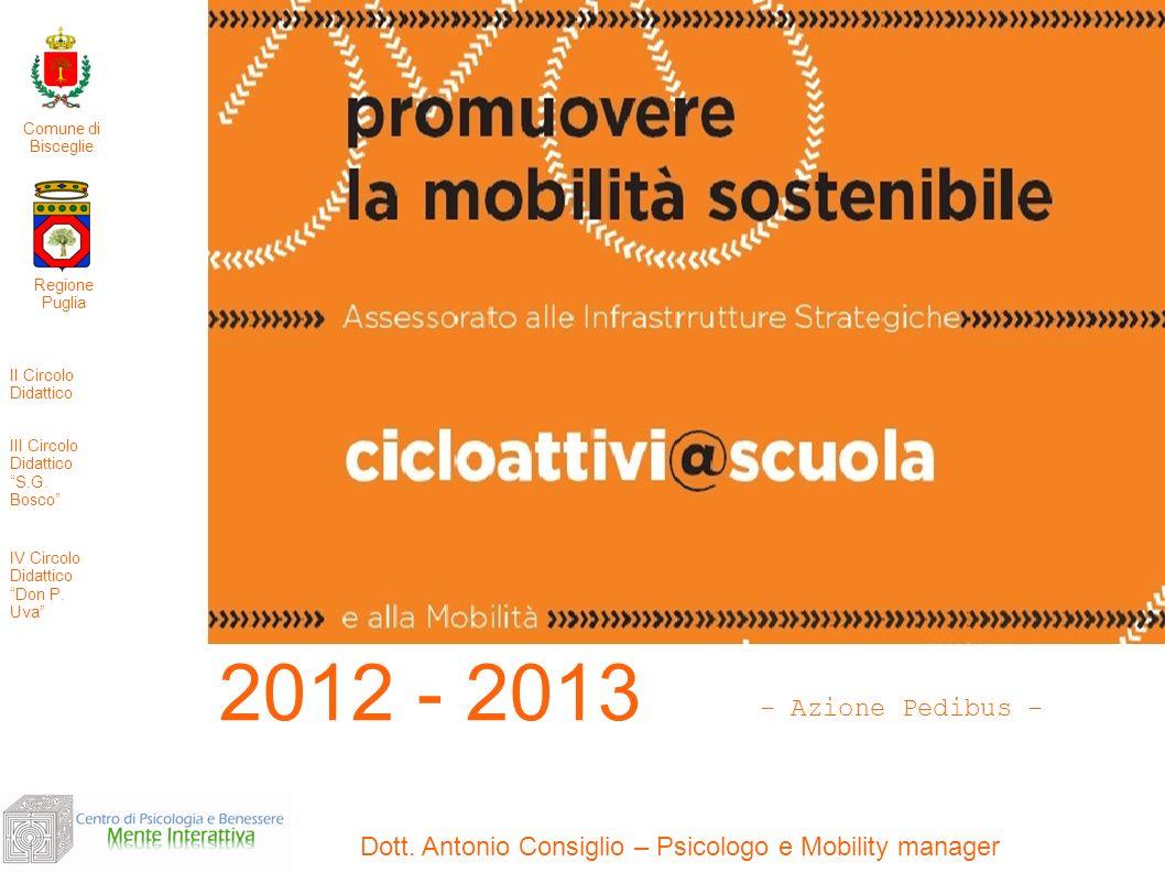 Dott. Antonio Consiglio – Psicologo e Mobility manager 2012 - 2013 Regione Puglia II Circolo Didattico III Circolo Didattico S.G. Bosco IV Circolo Did