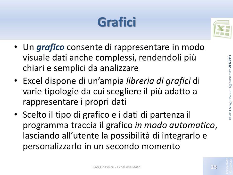 © 2011 Giorgio Porcu – Aggiornamennto 29/12/2011 F ORMATTARE C ONTENUTO Grafici Un grafico consente di rappresentare in modo visuale dati anche comple
