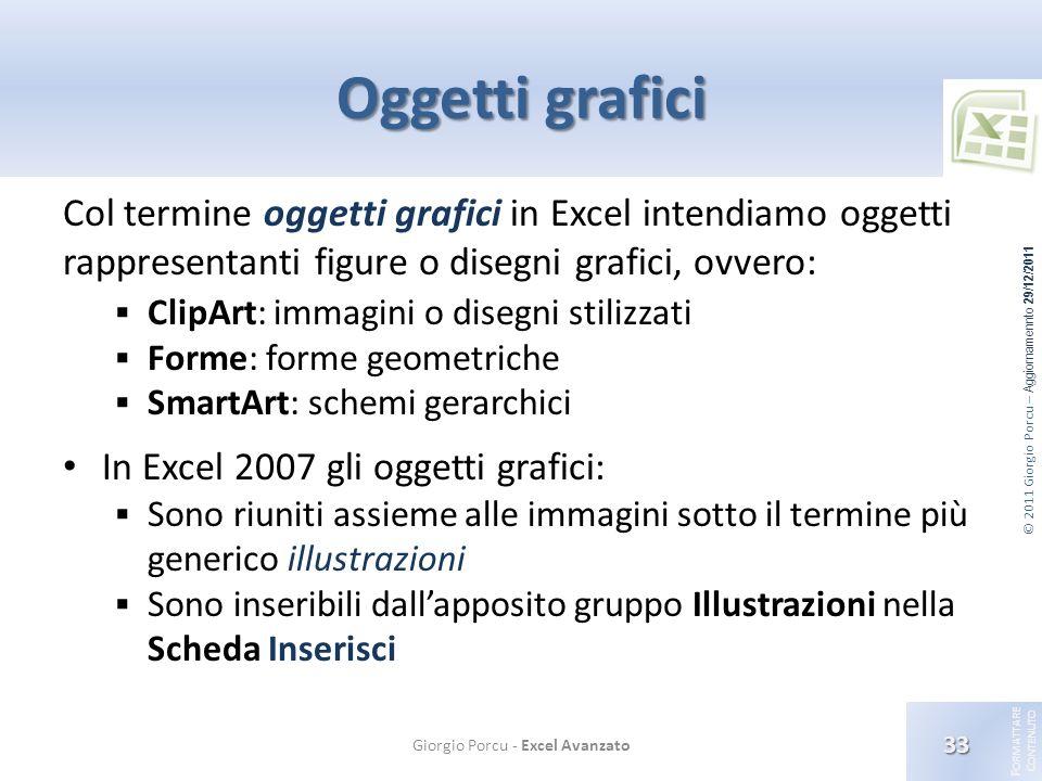 © 2011 Giorgio Porcu – Aggiornamennto 29/12/2011 F ORMATTARE C ONTENUTO Oggetti grafici Col termine oggetti grafici in Excel intendiamo oggetti rappre