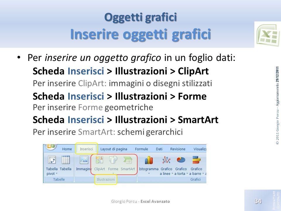 © 2011 Giorgio Porcu – Aggiornamennto 29/12/2011 F ORMATTARE C ONTENUTO Oggetti grafici Inserire oggetti grafici Per inserire un oggetto grafico in un