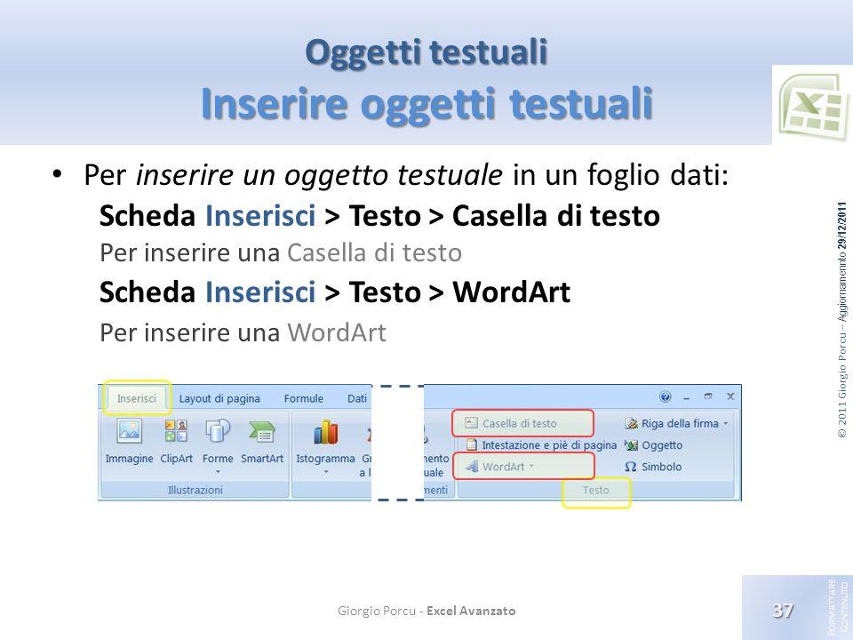 © 2011 Giorgio Porcu – Aggiornamennto 29/12/2011 F ORMATTARE C ONTENUTO Oggetti testuali Inserire oggetti testuali Per inserire un oggetto testuale in
