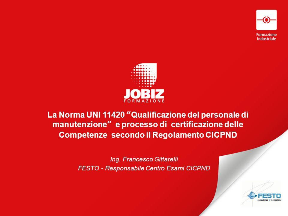 La Norma UNI 11420 Qualificazione del personale di manutenzione e processo di certificazione delle Competenze secondo il Regolamento CICPND Ing.