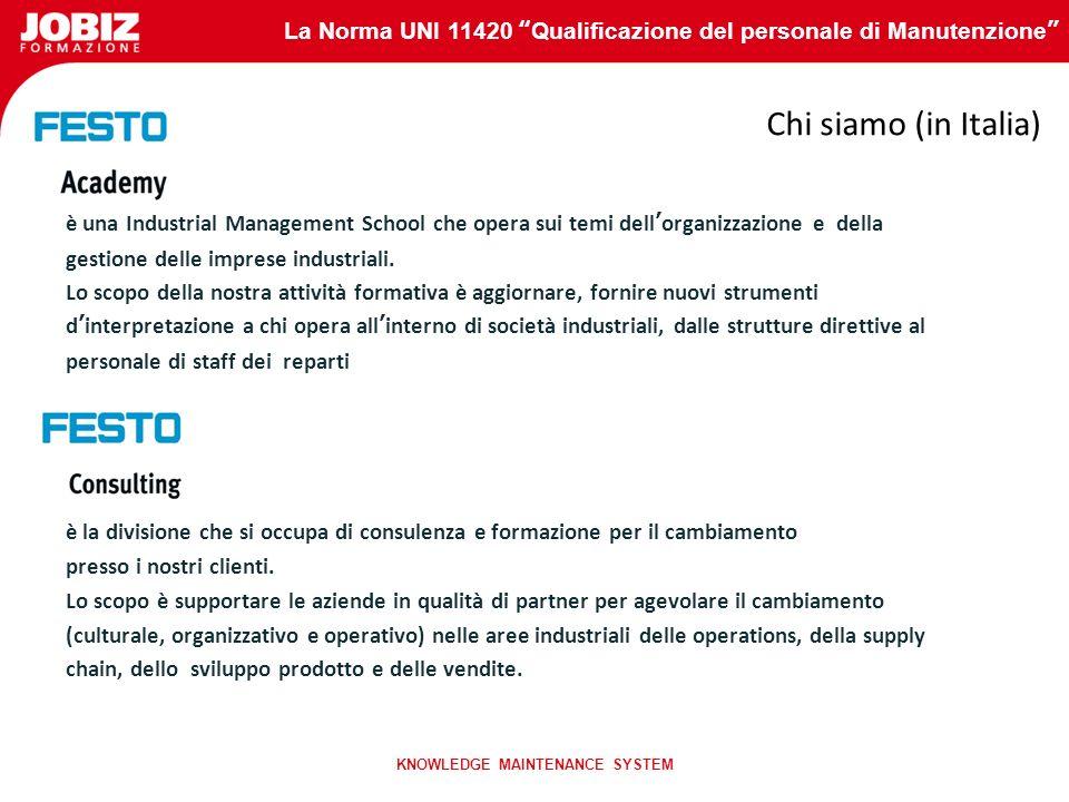 La Norma UNI 11420 Qualificazione del personale di Manutenzione KNOWLEDGE MAINTENANCE SYSTEM Gruppo Festo Leader nello sviluppo, produzione, commercia