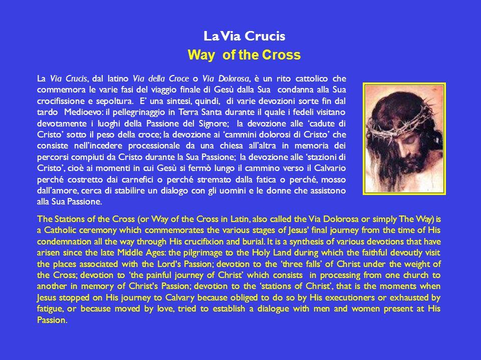 La Via Crucis Way of the Cross La Via Crucis, dal latino Via della Croce o Via Dolorosa, è un rito cattolico che commemora le varie fasi del viaggio finale di Gesù dalla Sua condanna alla Sua crocifissione e sepoltura.