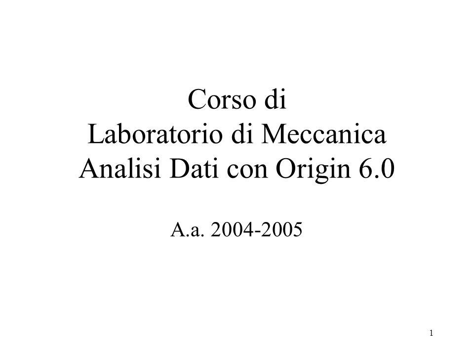 1 Corso di Laboratorio di Meccanica Analisi Dati con Origin 6.0 A.a. 2004-2005