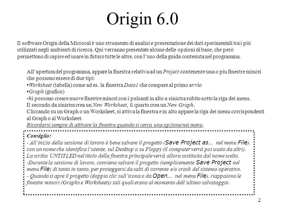 2 Origin 6.0 Il software Origin della Microcal è uno strumento di analisi e presentazione dei dati sperimentali tra i piú utilizzati negli ambienti di