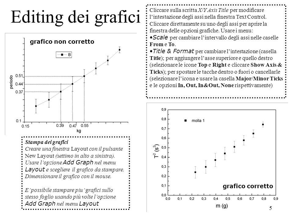 5 Editing dei grafici Stampa dei grafici Creare una finestra Layout con il pulsante New Layout (settimo in alto a sinistra). Usare lopzione Add Graph