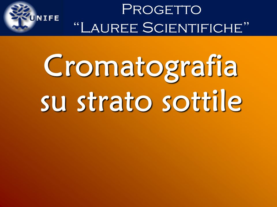 Cromatografia su strato sottile Progetto Lauree Scientifiche