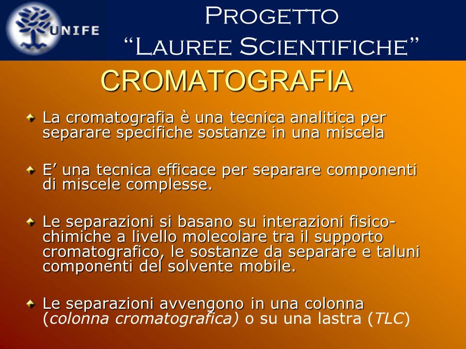 CROMATOGRAFIA La cromatografia è una tecnica analitica per separare specifiche sostanze in una miscela E una tecnica efficace per separare componenti
