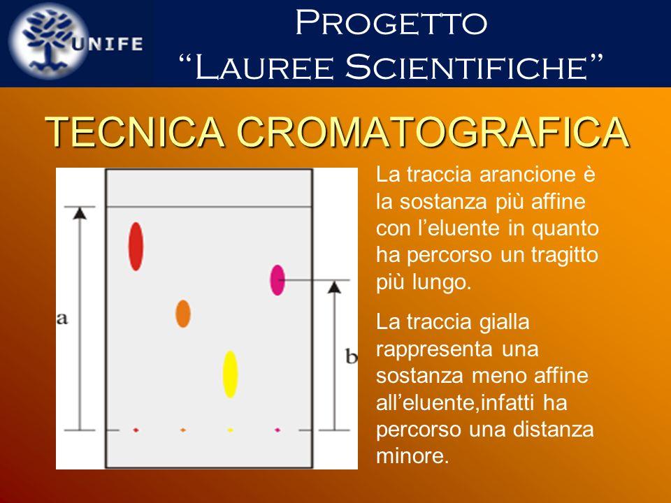 TECNICA CROMATOGRAFICA La traccia arancione è la sostanza più affine con leluente in quanto ha percorso un tragitto più lungo. La traccia gialla rappr