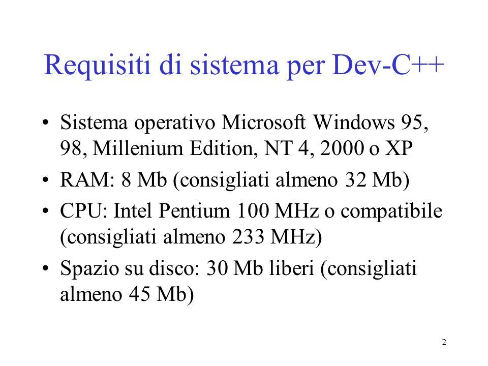 2 Requisiti di sistema per Dev-C++ Sistema operativo Microsoft Windows 95, 98, Millenium Edition, NT 4, 2000 o XP RAM: 8 Mb (consigliati almeno 32 Mb)