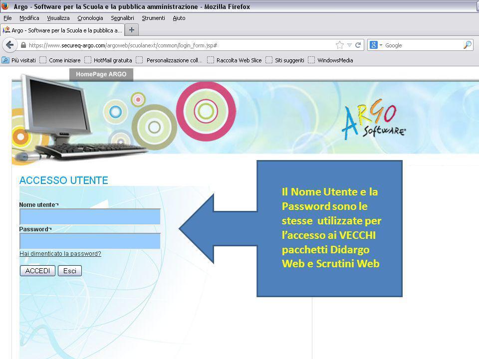 Il Nome Utente e la Password sono le stesse utilizzate per laccesso ai VECCHI pacchetti Didargo Web e Scrutini Web