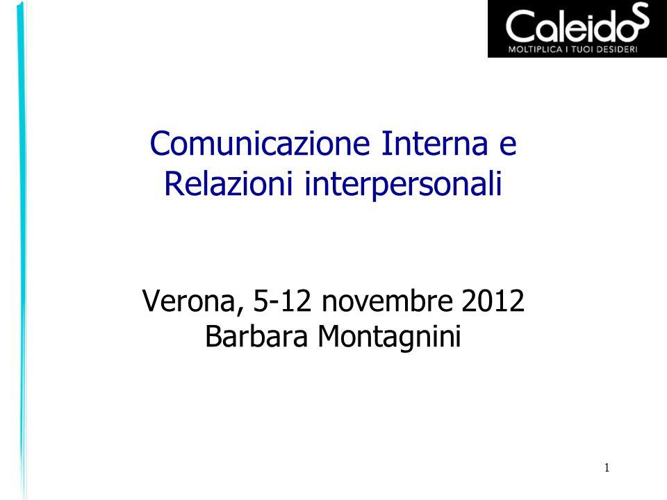 1 Comunicazione Interna e Relazioni interpersonali Verona, 5-12 novembre 2012 Barbara Montagnini