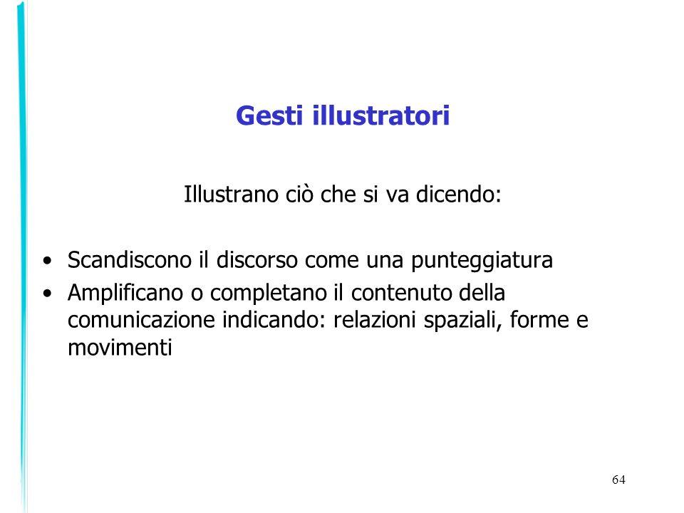 64 Gesti illustratori Illustrano ciò che si va dicendo: Scandiscono il discorso come una punteggiatura Amplificano o completano il contenuto della com