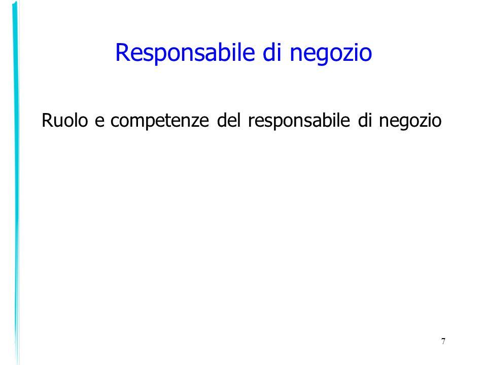 Ruolo e competenze del responsabile di negozio 7 Responsabile di negozio