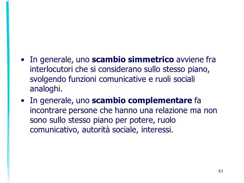 83 In generale, uno scambio simmetrico avviene fra interlocutori che si considerano sullo stesso piano, svolgendo funzioni comunicative e ruoli social