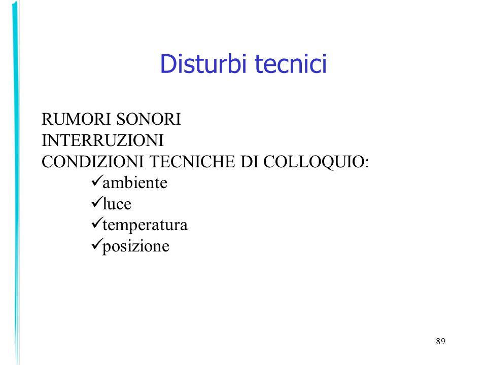 89 Disturbi tecnici RUMORI SONORI INTERRUZIONI CONDIZIONI TECNICHE DI COLLOQUIO: ambiente luce temperatura posizione