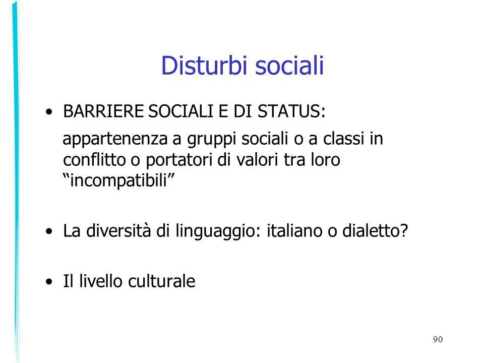 90 Disturbi sociali BARRIERE SOCIALI E DI STATUS: appartenenza a gruppi sociali o a classi in conflitto o portatori di valori tra loro incompatibili L