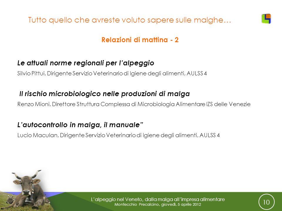 10 Lalpeggio nel Veneto, dalla malga allimpresa alimentare Montecchio Precalcino, giovedì, 5 aprile 2012 Tutto quello che avreste voluto sapere sulle