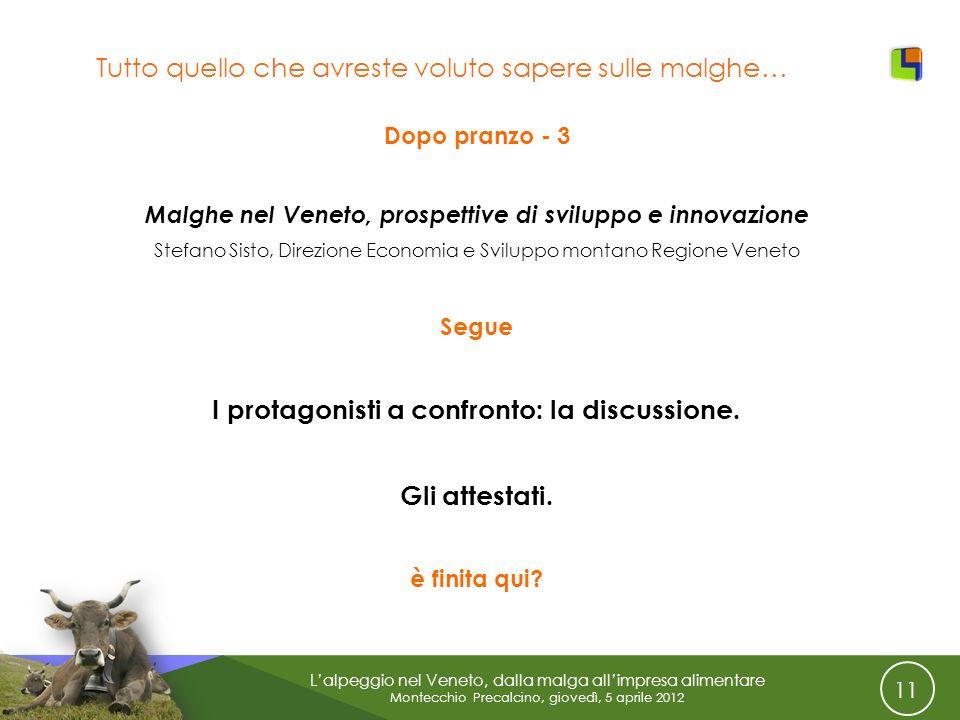 11 Lalpeggio nel Veneto, dalla malga allimpresa alimentare Montecchio Precalcino, giovedì, 5 aprile 2012 Tutto quello che avreste voluto sapere sulle