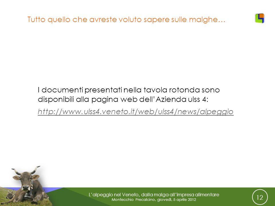 12 Lalpeggio nel Veneto, dalla malga allimpresa alimentare Montecchio Precalcino, giovedì, 5 aprile 2012 Tutto quello che avreste voluto sapere sulle