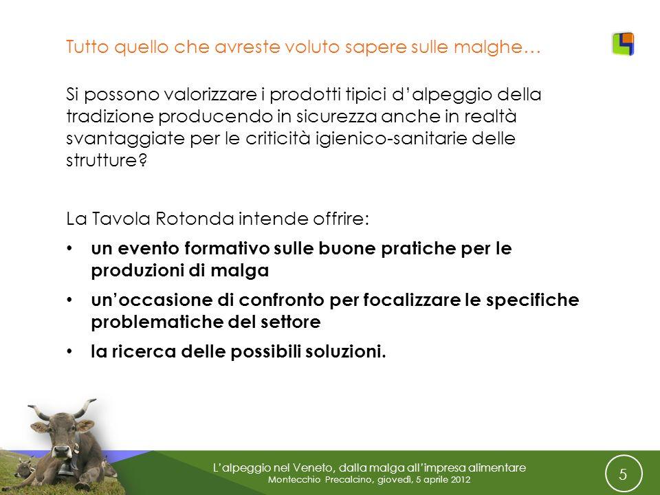 5 Lalpeggio nel Veneto, dalla malga allimpresa alimentare Montecchio Precalcino, giovedì, 5 aprile 2012 Tutto quello che avreste voluto sapere sulle m