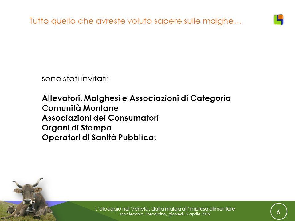 6 Lalpeggio nel Veneto, dalla malga allimpresa alimentare Montecchio Precalcino, giovedì, 5 aprile 2012 Tutto quello che avreste voluto sapere sulle m