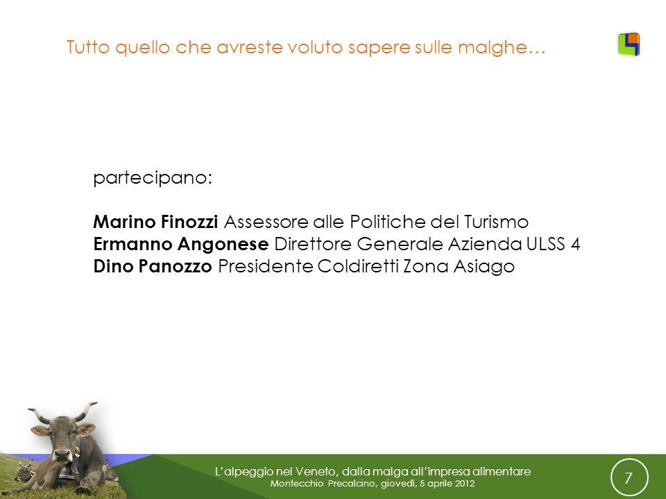 7 Lalpeggio nel Veneto, dalla malga allimpresa alimentare Montecchio Precalcino, giovedì, 5 aprile 2012 Tutto quello che avreste voluto sapere sulle m