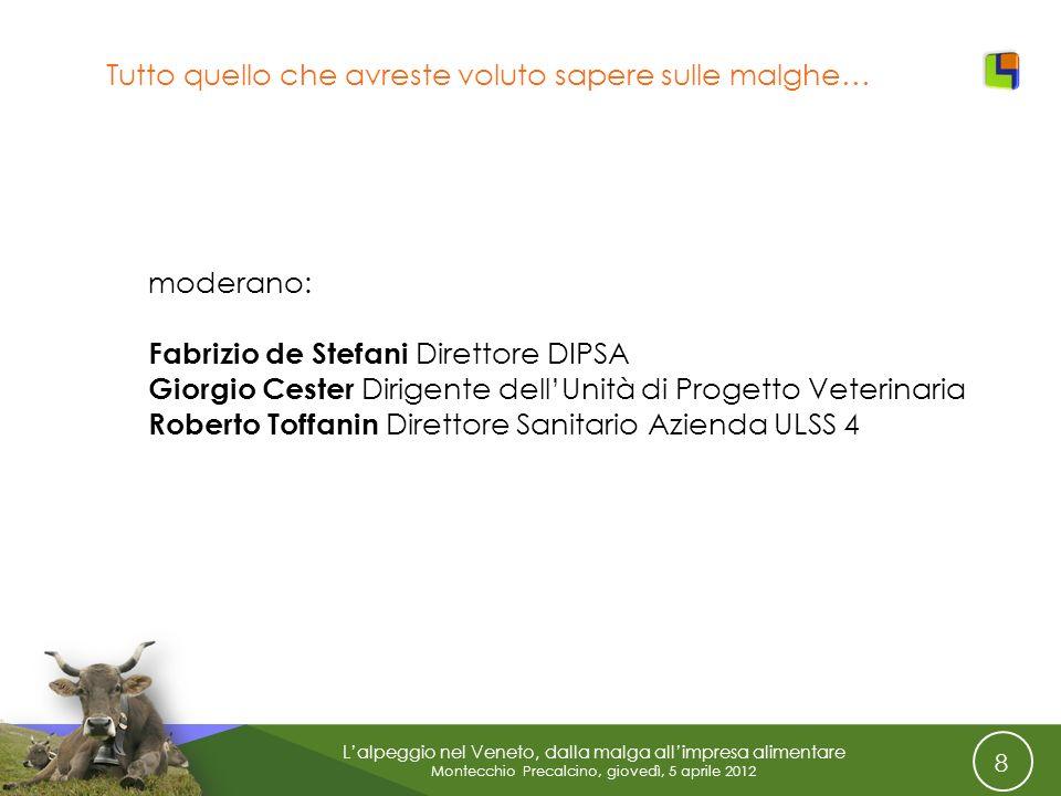 8 Lalpeggio nel Veneto, dalla malga allimpresa alimentare Montecchio Precalcino, giovedì, 5 aprile 2012 Tutto quello che avreste voluto sapere sulle m
