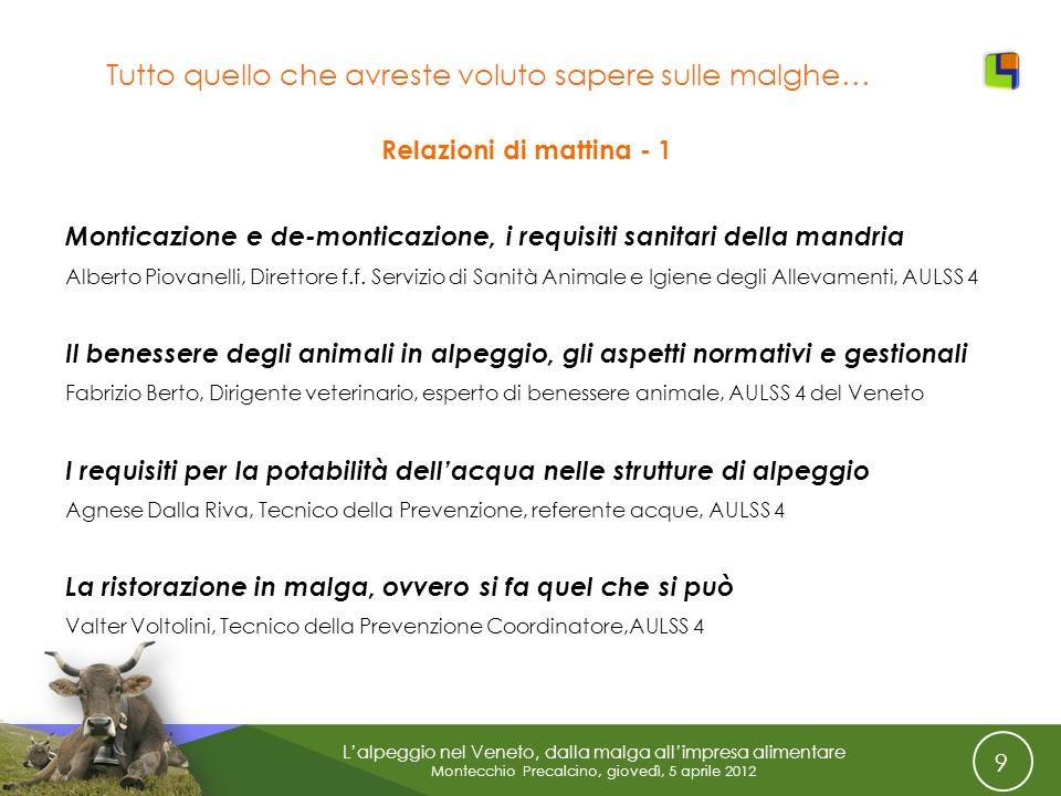 9 Lalpeggio nel Veneto, dalla malga allimpresa alimentare Montecchio Precalcino, giovedì, 5 aprile 2012 Tutto quello che avreste voluto sapere sulle m