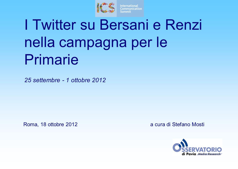1 I Twitter su Bersani e Renzi nella campagna per le Primarie 25 settembre - 1 ottobre 2012 Roma, 18 ottobre 2012a cura di Stefano Mosti