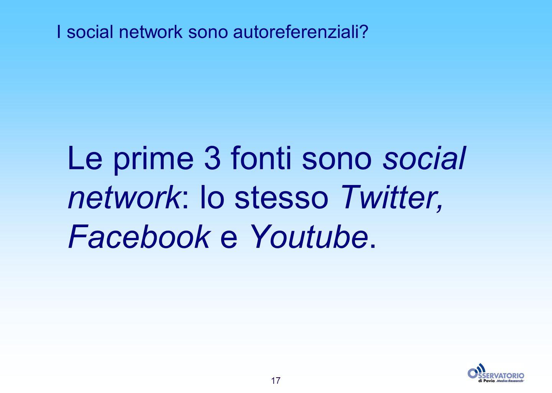 17 I social network sono autoreferenziali? Le prime 3 fonti sono social network: lo stesso Twitter, Facebook e Youtube.