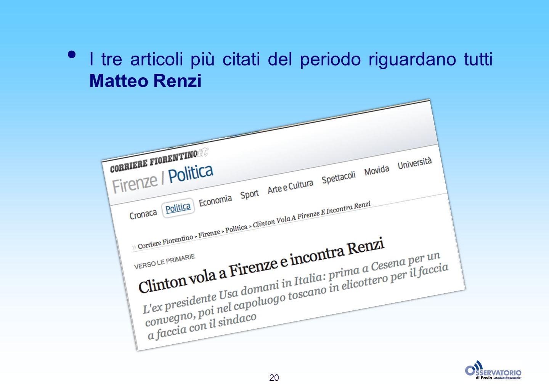 20 I tre articoli più citati del periodo riguardano tutti Matteo Renzi
