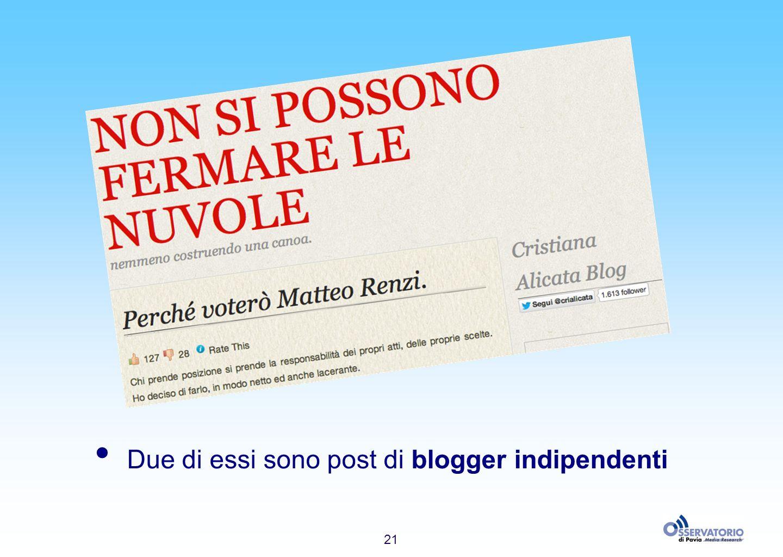 21 Due di essi sono post di blogger indipendenti